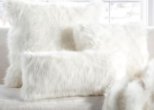 White faux fur pillow covers from Pottery Barn