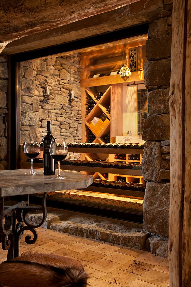 Wine cellar and tasting area at the lovely Yellowstone Club retreat