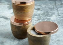 Wood and copper salt cellars from West Elm