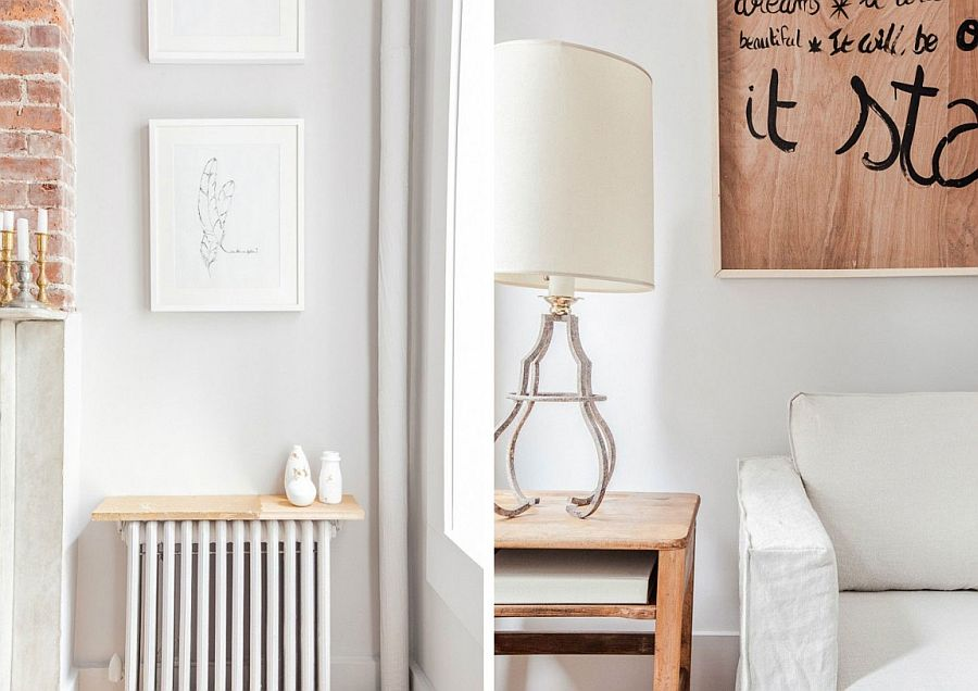 Wood and metal accents bring textural beauty to the rented space