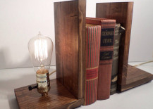 Wooden bookends with Edison bulb 217x155 15 Ridiculously Unique Ideas for Bookends