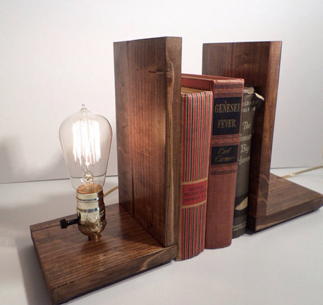 Wooden bookends with Edison bulb