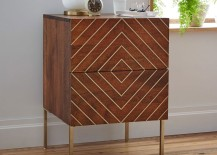 Wooden nightstand with a brass inlay from West Elm