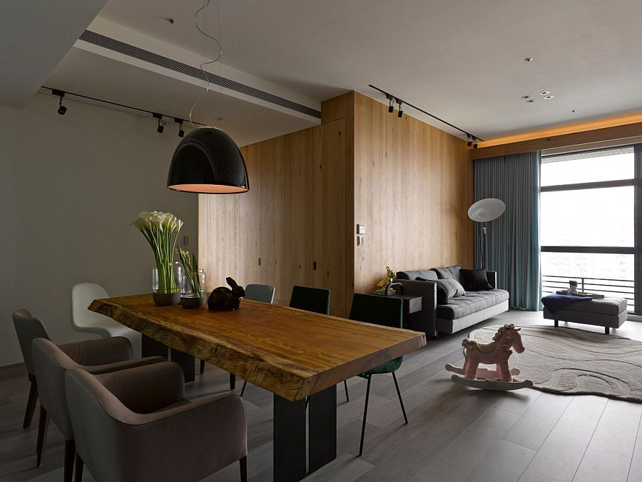 Wooden separations are used to craft additional rooms inside the Taipei City apartment