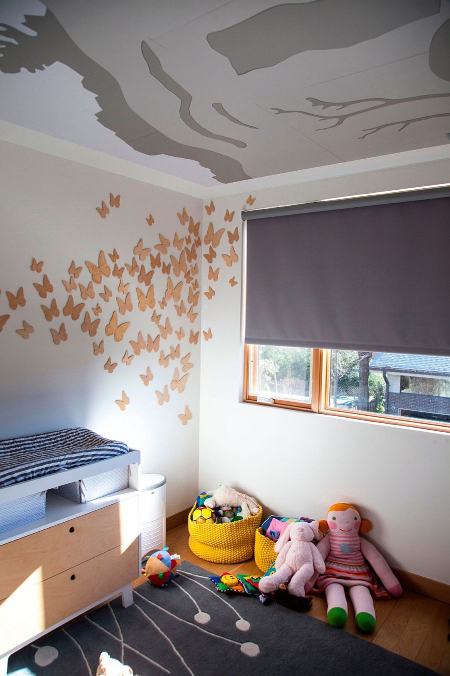 3D wall art creates a fun focal point in the kids' room