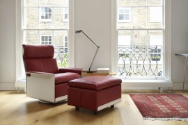 620 off-white and red high-back chair