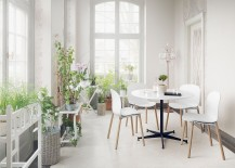A healthy dose of greenery for the all white Scandinavian sunroom 217x155 Scandinavian Sunrooms: An Infusion of Style and Serenity