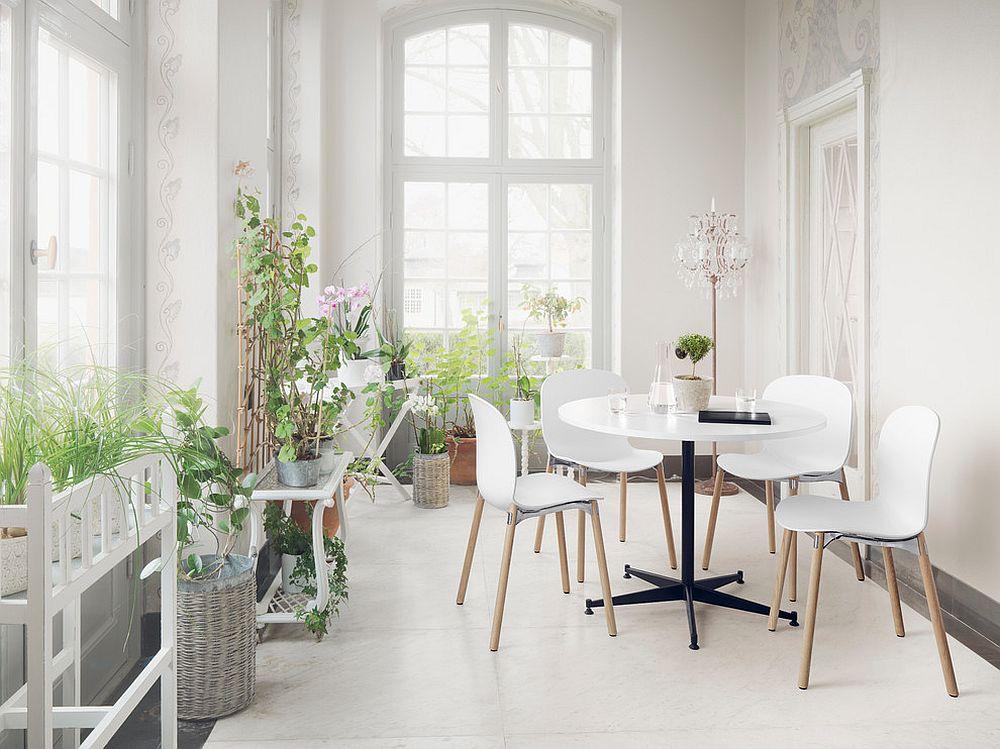 A healthy dose of greenery for the all-white Scandinavian sunroom [Design: RBM – London]