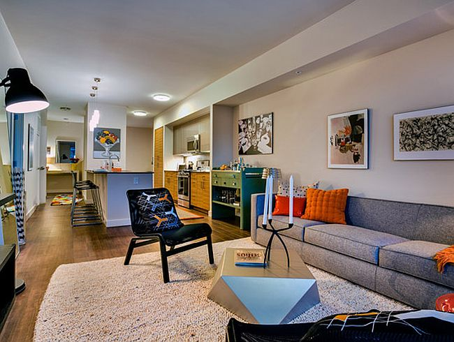 A look at the open plan living area inside the apartment
