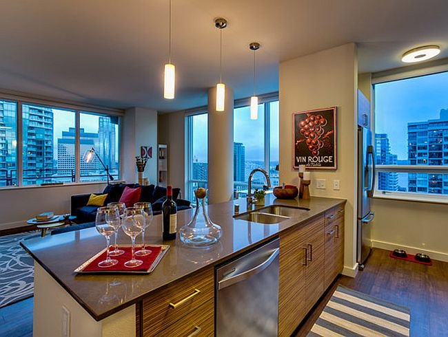 A view of the city skyline from the kitchen