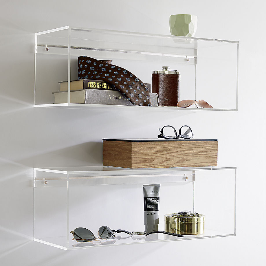 Acrylic storage shelves from CB2