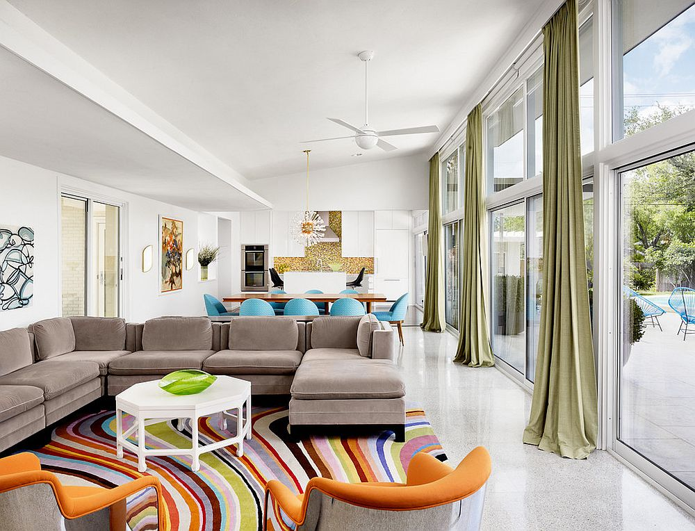 Add fun accents to create a colorful, open living space [Design: Baxter Design Group]