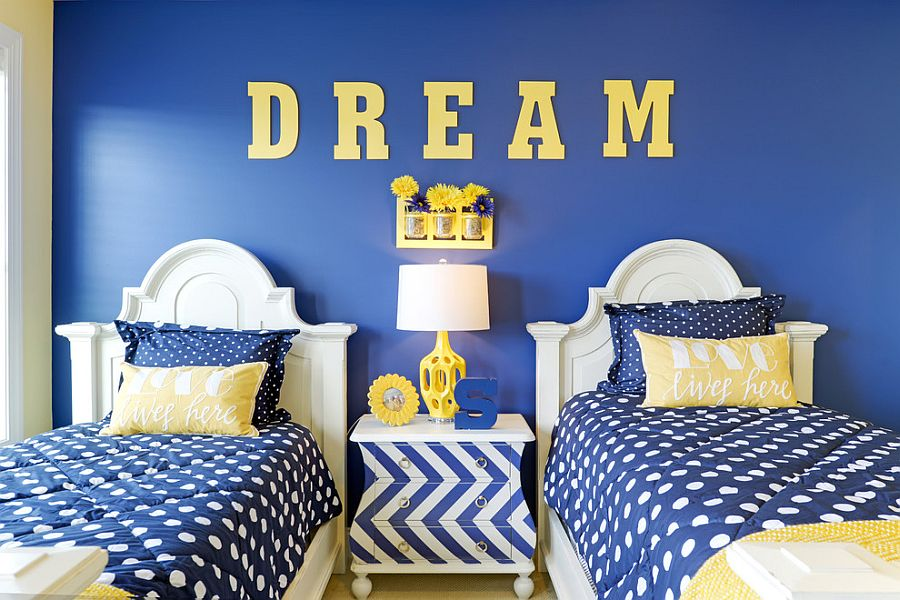 All blue kids' bedroom with a chevron pattern bedside table [Design: Echelon Interiors]