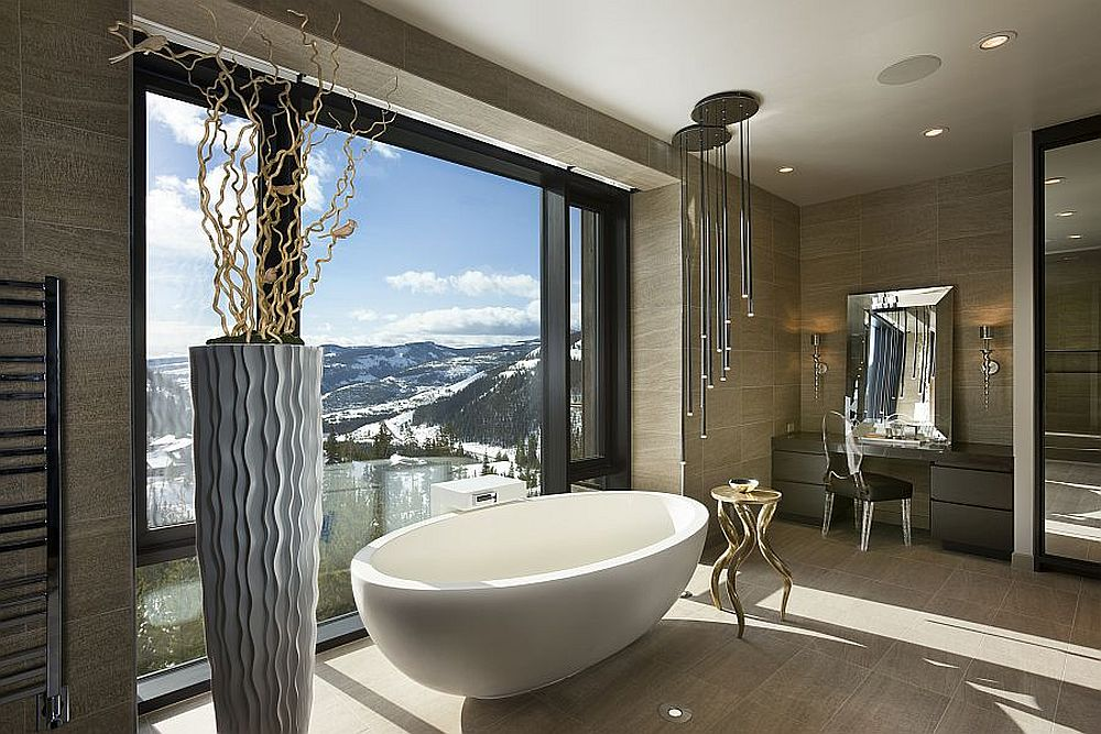 Amazing bathroom of private luxury ski resort by Len Cotsovolos Framed to Perfection: 15 Bathrooms with Majestic Mountain Views