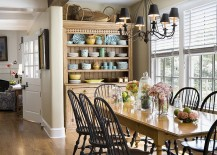 Antique hutch in the dining room helps store your precious china