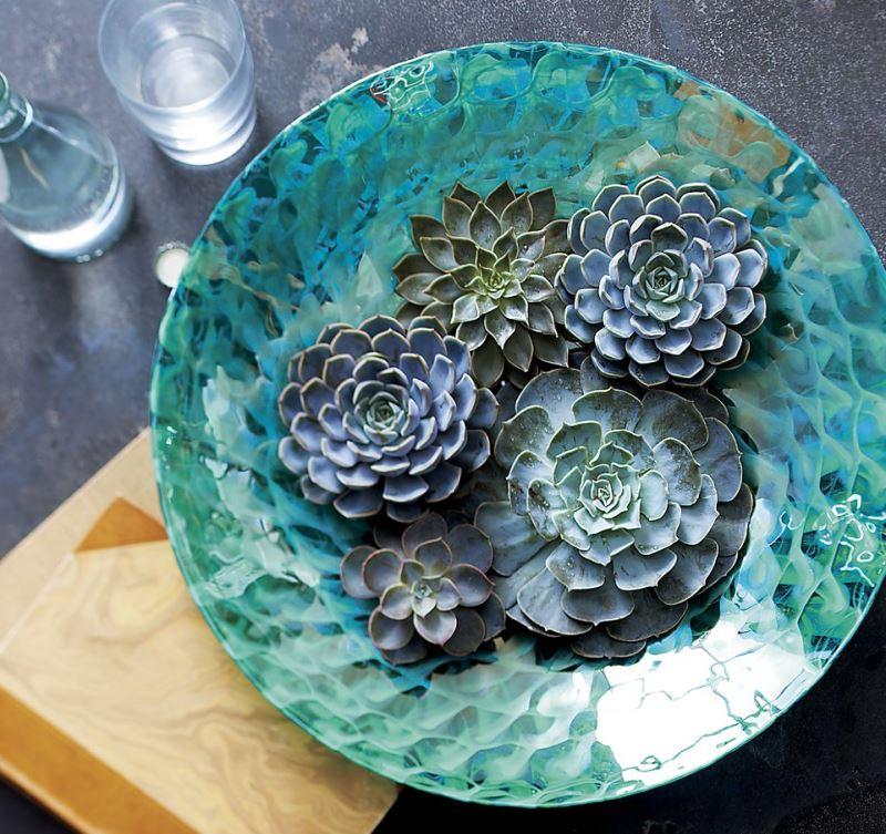 Aqua centerpiece bowl from Crate & Barrel
