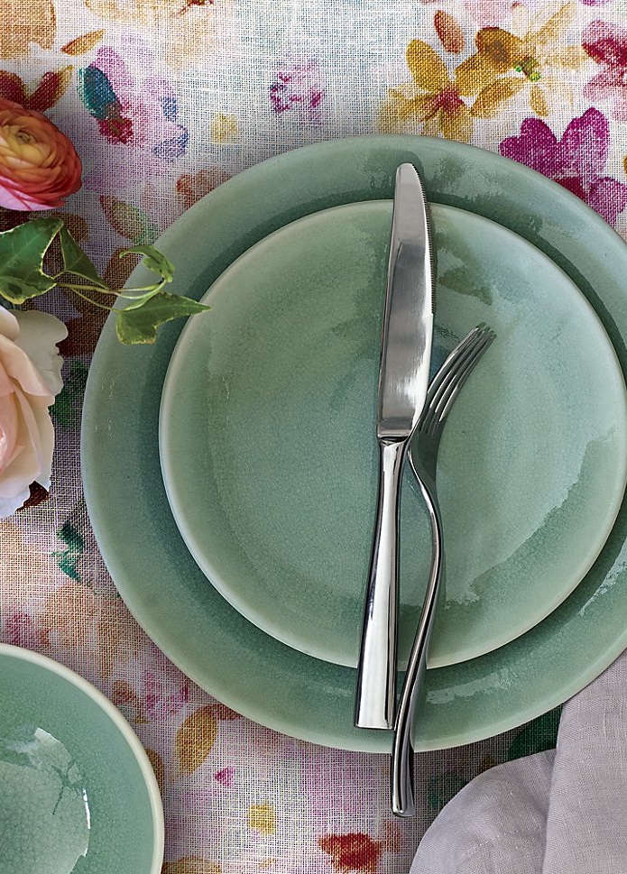 Aqua dinnerware from Crate & Barrel
