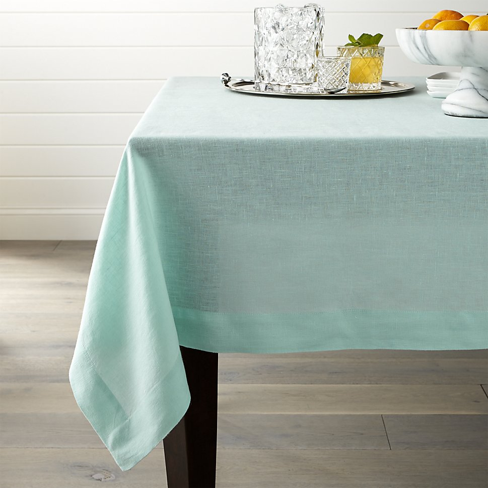 Aqua linen tablecloth from Crate & Barrel