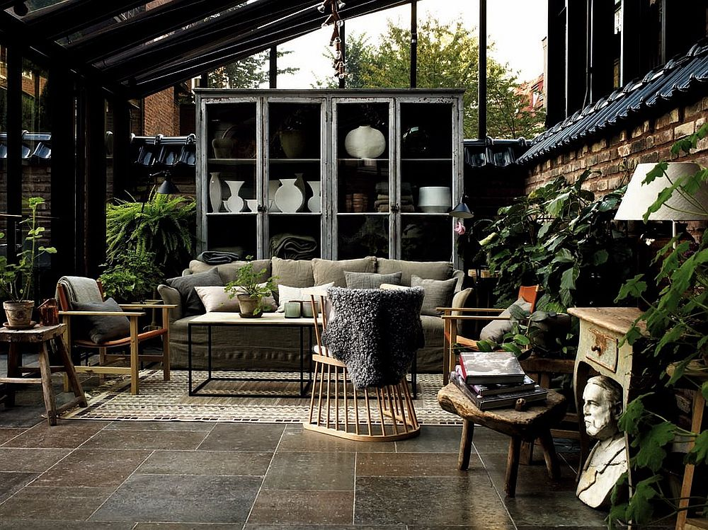 Awesome sunroom blends Scandinavian and tropical flavors! [From: Nordfjell Collection]