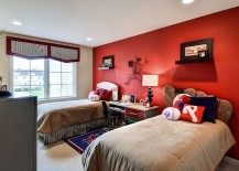 Baseball themed kids bedroom with a striking red accent wall 217x155 Fiery and Fascinating: 25 Kids Bedrooms Wrapped in Shades of Red