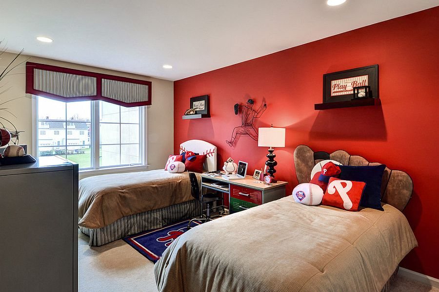 View In Gallery Baseball Themed Kidsu0027 Bedroom With A Striking Red Accent  Wall [Design: Deannau0027s Interior