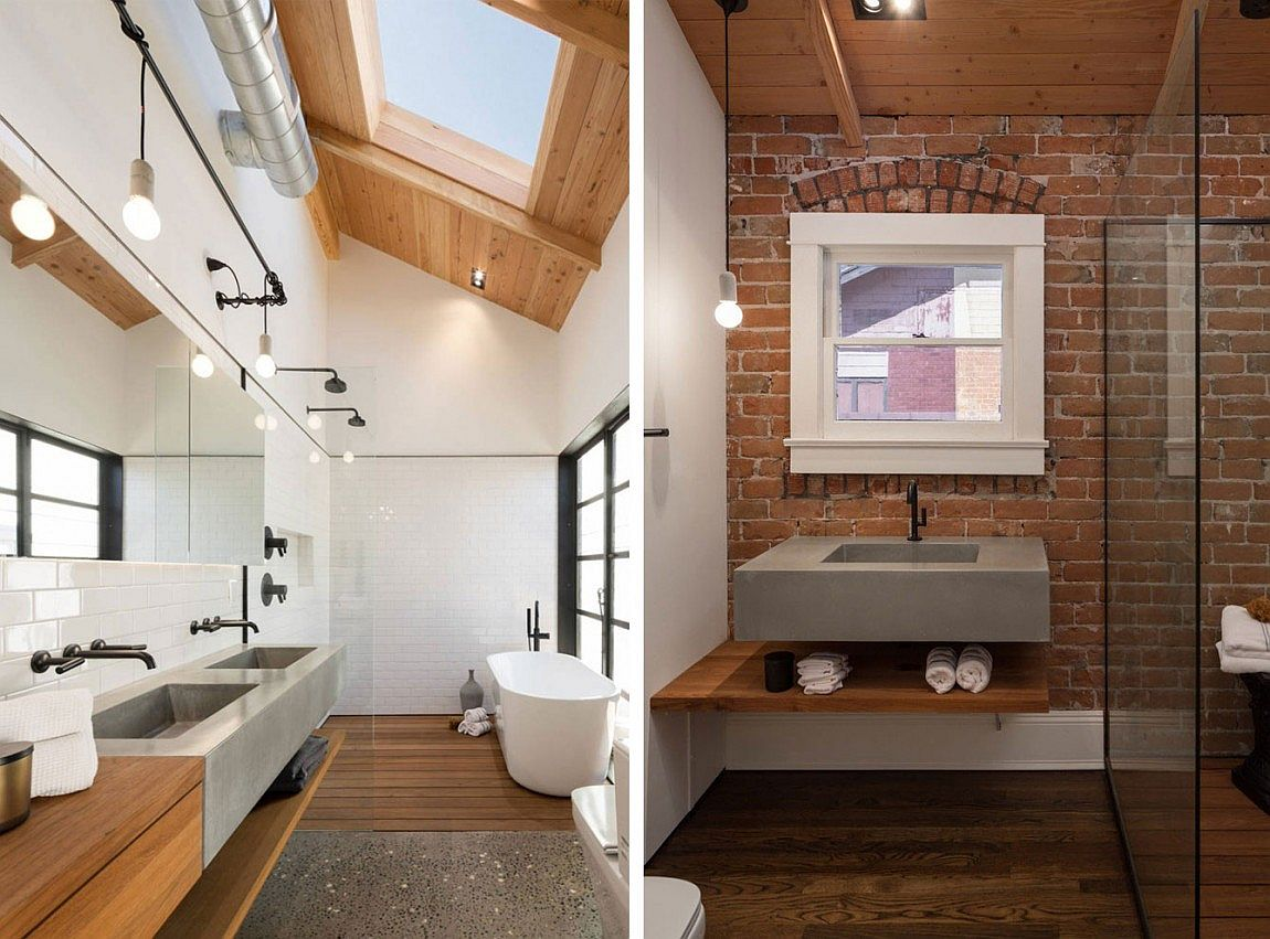 Bathroom with exposed brick wall and skylight