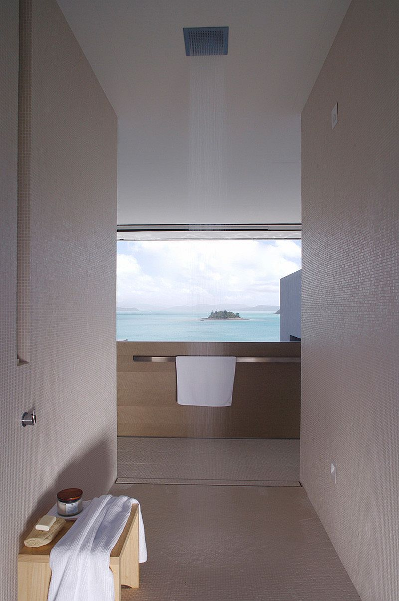 Bathroom with rainfall shower and ocean views
