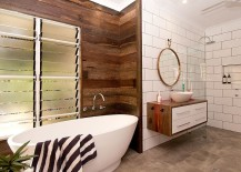 Beach style and contemporary elegance come together in this cool bathroom