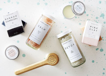 Beautifully packaged Herbivore bath products