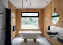 Beauty of oak defines the fabulous contemporary bathroom