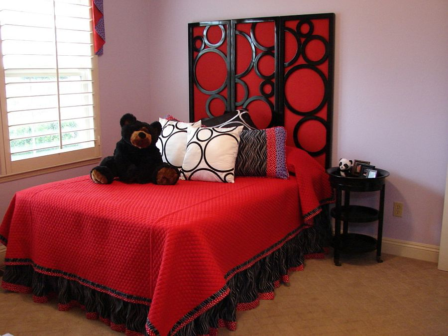 Bedding and accent additions give this room a red tinge [Design: DJ Designs]