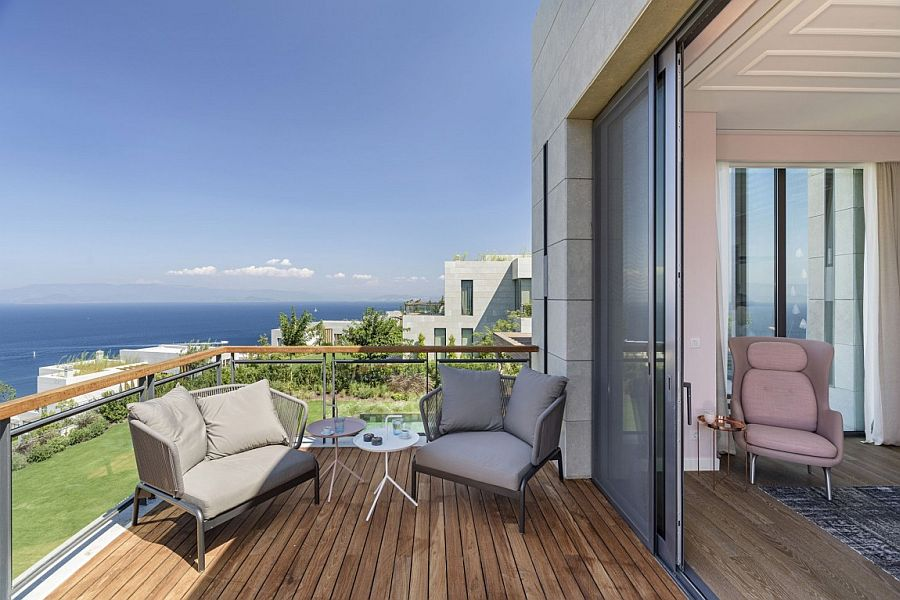 Bedroom balcony of the Y House overlooking the Mediterranean coastline