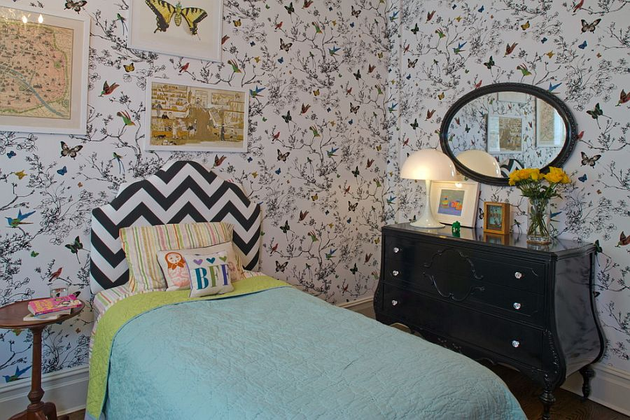 Birds and Butterflies wallpaper redefines contemporary kids' room [Design: Nastasi Vail Design]