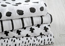 Black and white swaddle blankets from The Land of Nod