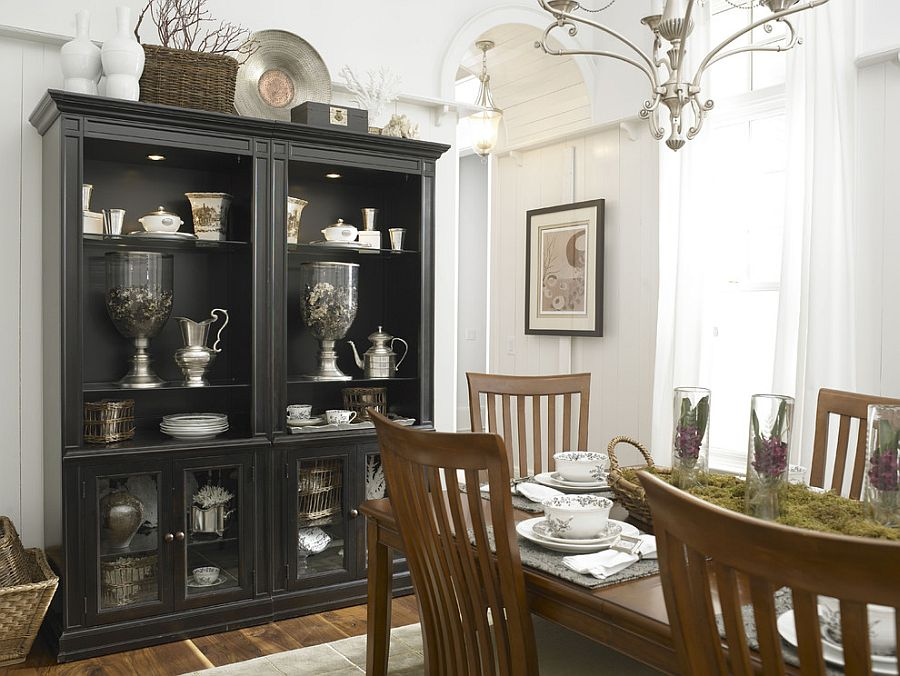 Black hutch is the showstopper in this white, eclectic kitchen
