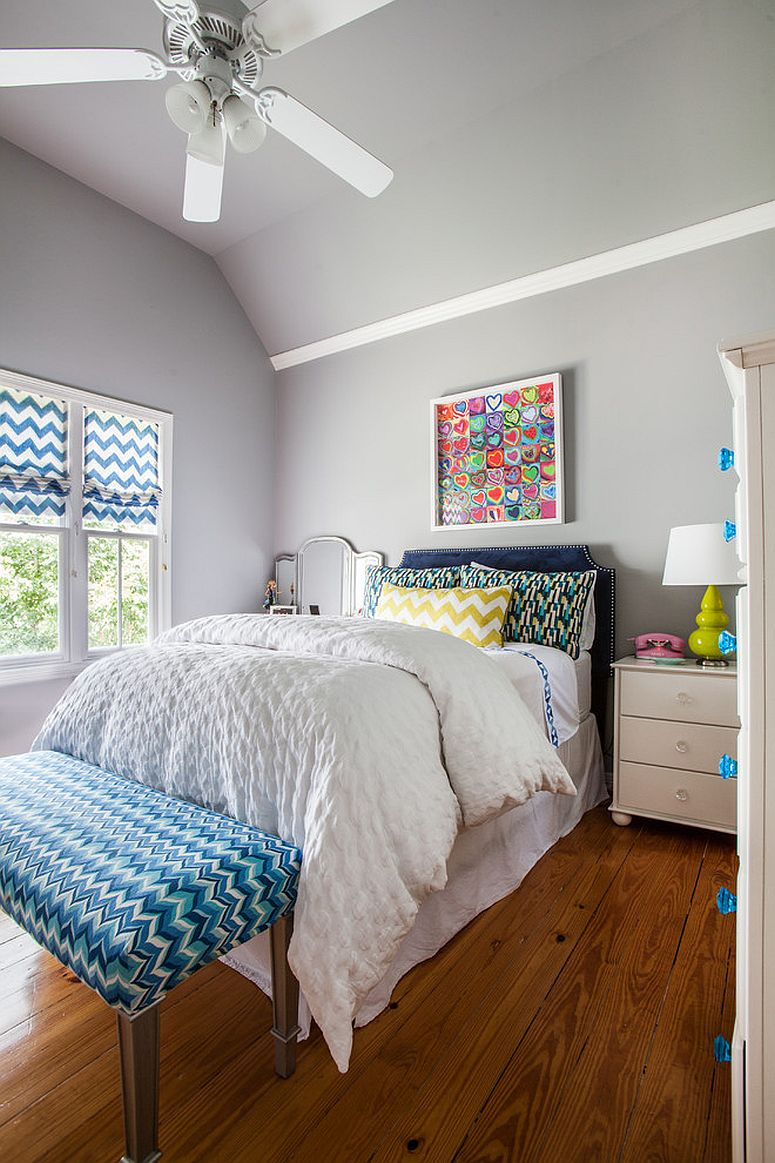 blue chevron pattern is a popular choice in the kids 39 room design