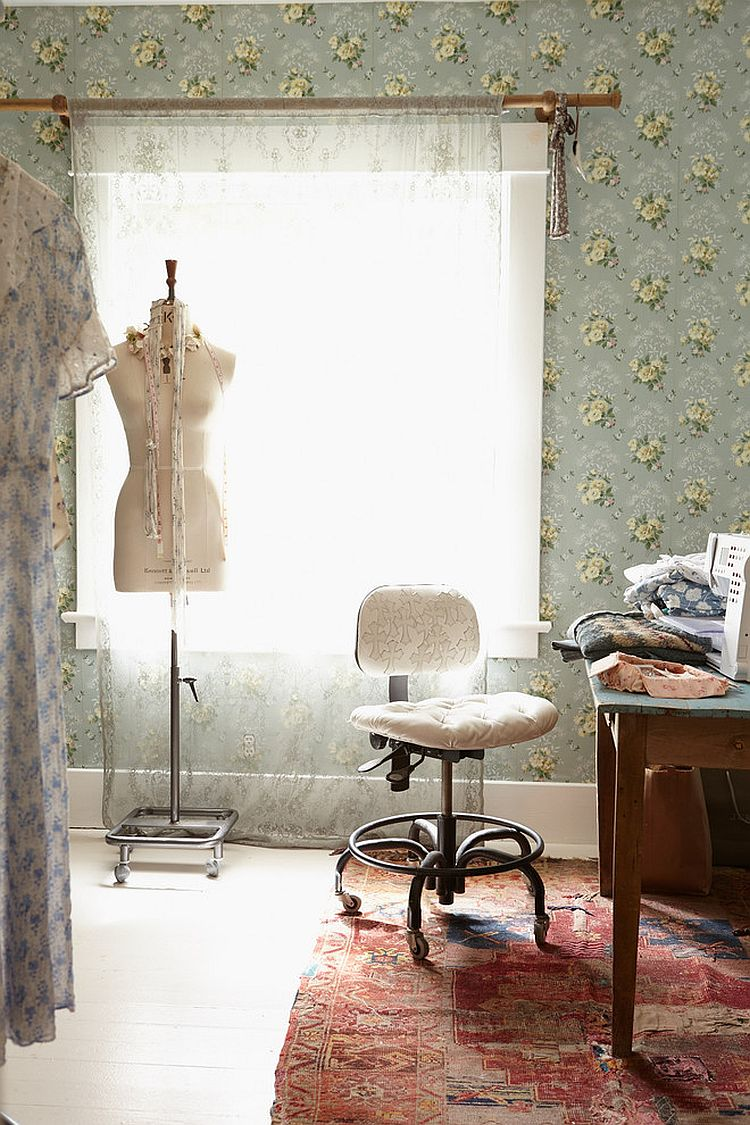 Boho chic home office with wallpapered beauty [Design: Rachel Ashwell Shabby Chic Couture]