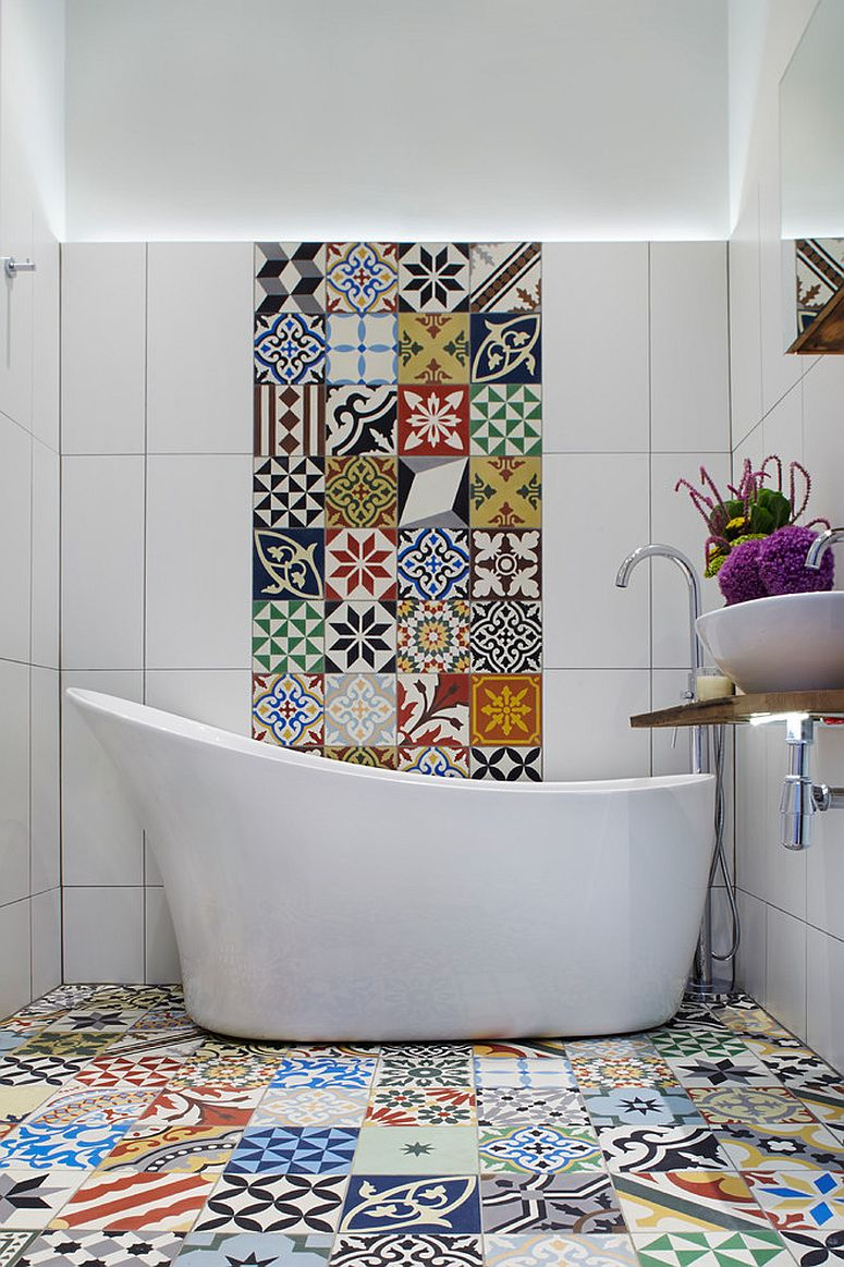 Bold and vivacious Encaustic tiles for the modern Mediterranean bathroom [Design: Cassidy Hughes Interior Design & Styling]