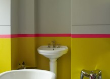 Bold color in a modern eclectic bathroom