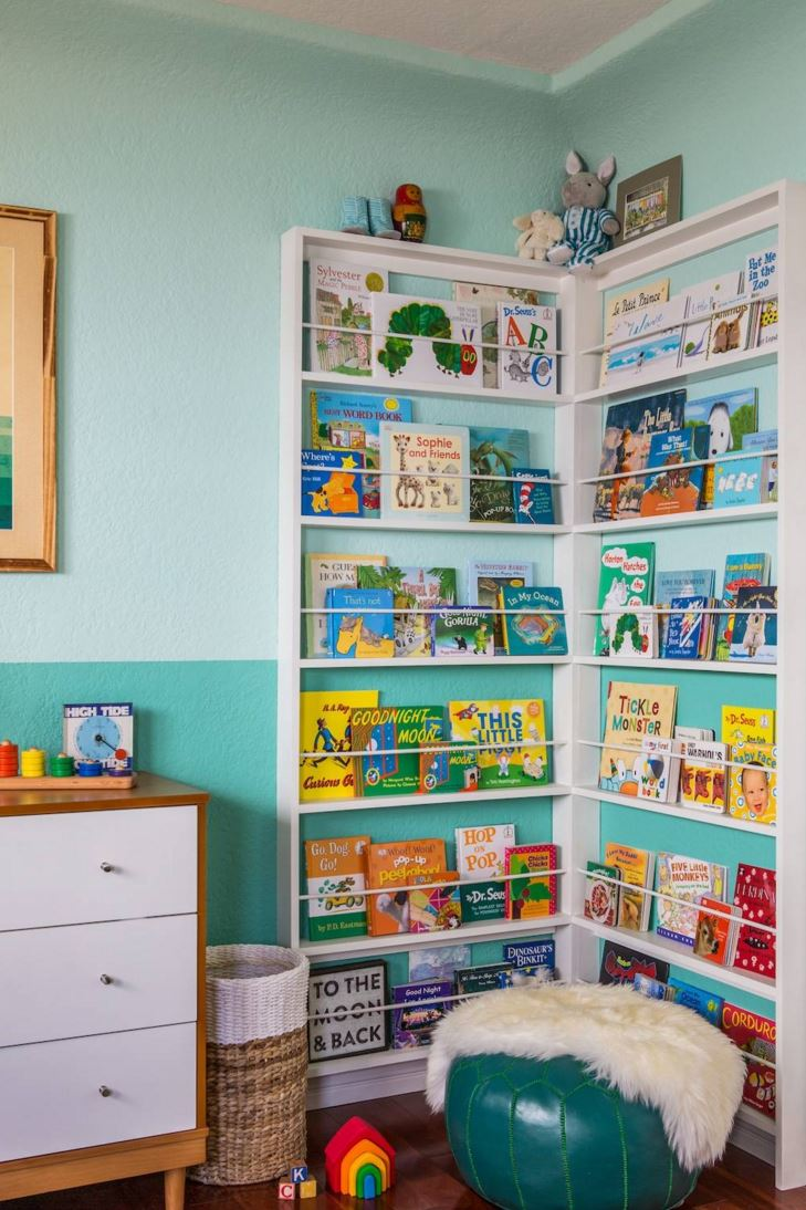 Books on display in a child's bedroom
