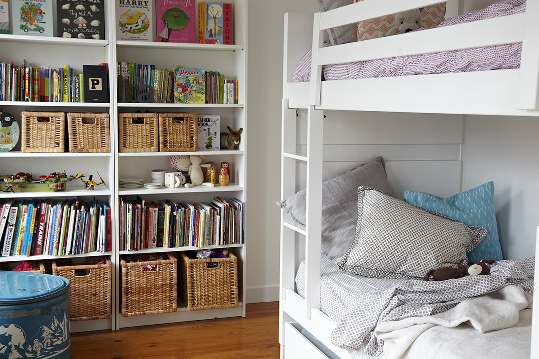 Bookshelf with handy baskets