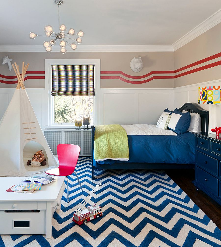 Bright chevron rug for the transitional kids room [Design: duet design group]
