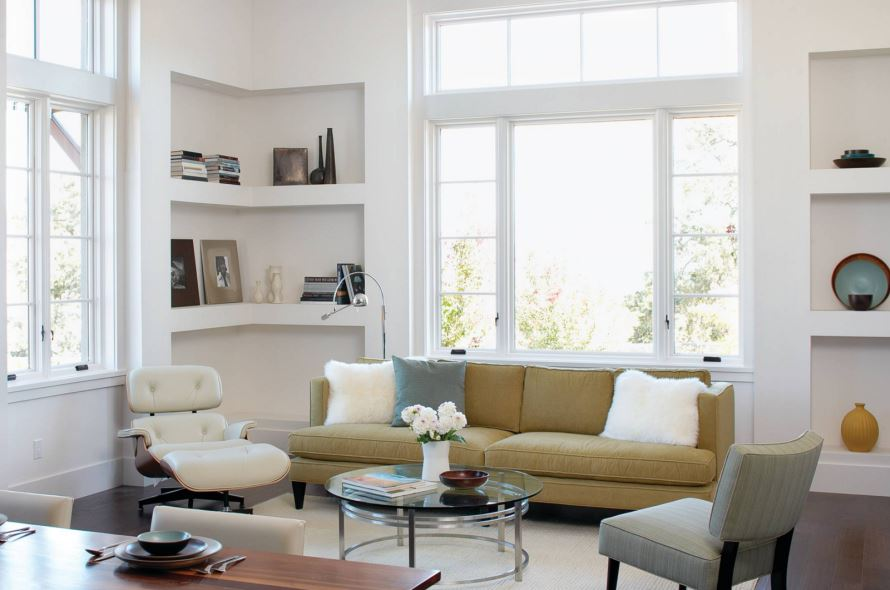 Built-in corner shelving creates a clean-lined look