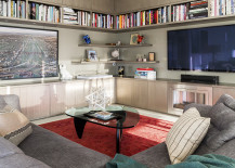 Built in shelving in a contemporary living room 217x155 10 Rooms with Corner Shelving