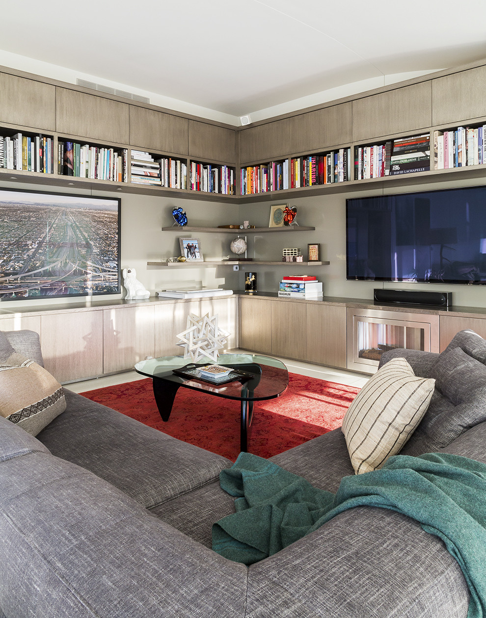 Built-in shelving in a contemporary living room