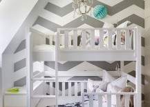Chevron accent wall for Scandinavian style kids room