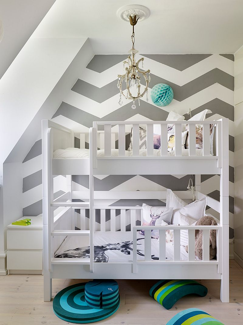 Chevron accent wall for Scandinavian style kids' room [Design: Swanfield Living]