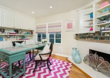 Chevron pattern rug adds color and pattern to the home office
