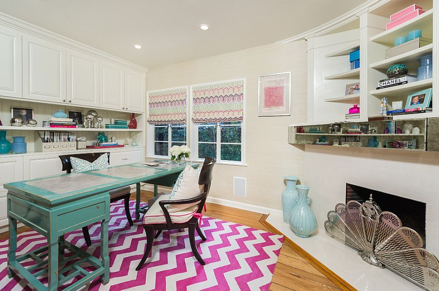 Chevron pattern rug adds color and pattern to the home office [Design: Dana Lauren Designs]
