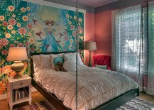 Chevron pattern rug goes almost unnoticed in this stunning kids'  bedroom
